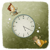 Business Men and Women Running Around a Clock — Stock Photo
