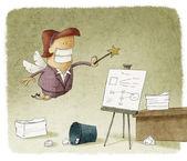 Office fairy organizing — Stock Photo