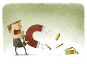 Businessman Attracts Money — Stock Photo