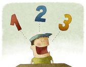 Kid with three numbers — Stock Photo