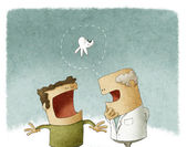 Dentist talking to his patient about a tooth cavity — Foto Stock