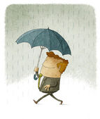 Smiling businessman  in the rain under an umbrella. — Stock Photo