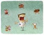 Doctor prohibiting sweet food — Stock Photo