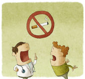 Doctor prohibiting smoking a patient — Stock Photo