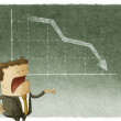 Businessman standing in front of a declining stock chart — Stock Photo