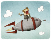 Businessman sitting on a rocket and flying through the air — Stock Photo