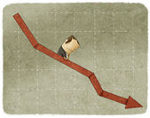 Sadness businessman going down in arrow graph escalator — Stock Photo