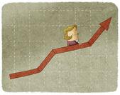 Businesswoman going up in arrow graph escalator — Stock Photo