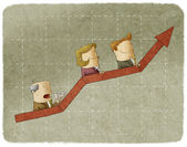 Three business people going up in arrow graph escalator — Stock Photo