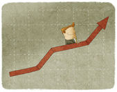 Businessman going up in arrow graph escalator — Stock Photo