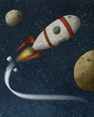 Rocket fliying — Stock Photo