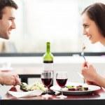 Couple having meal in restaurant — Stock Photo