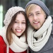 Couple in winter clothing — Stockfoto