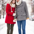 Couple in winter clothing — Stock Photo