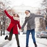 Couple having fun on winter day — Stock Photo #23671757