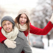 Stock Photo: Couple having fun on winter day