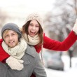 Стоковое фото: Couple having fun on winter day