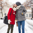Couple kissing on winter day — Stock Photo