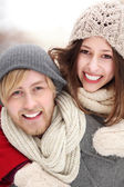 Young couple on winter day — Stock Photo