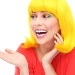 gelben Haar Mädchen lachen — Stockfoto