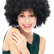 donna con acconciatura afro nero — Foto Stock