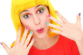 Woman with brightly colored nails — Stock Photo