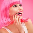 Beautiful young woman with pink hair — Stock Photo #23691657