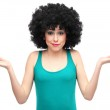 Woman with afro hair expressing confusion — Stock Photo