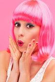 Surprised pink hair girl — Stock Photo