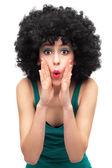Funky kvinna ringer någon — Stockfoto