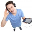 Man with mp3 player — Stock Photo