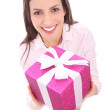 Stock Photo: Smiling womholding gift