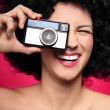 Woman with vintage camera — Foto Stock