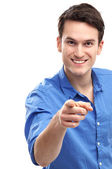 Young guy pointing — Stock Photo