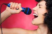 Female singer — Stock Photo