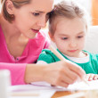 Foto de Stock  : Mother and daughter drawing