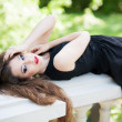 Glamour young woman outdoors — Stock Photo