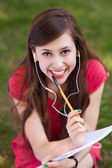 Female student with workbook — Stock Photo