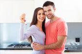 Nový majitelé domů s klíčem — Stock fotografie