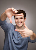 Man forming a finger frame — Stock Photo