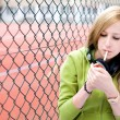 Teenage girl smoking — Stock Photo