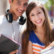 Teenage couple smiling — Stock Photo