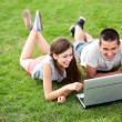 Young couple lying on grass with laptop — Stock Photo