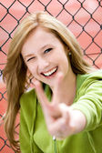 Girl Making Peace Sign — Stock Photo