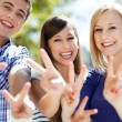 Young showing peace sign — Stock Photo #27210357