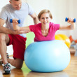 Stock Photo: Womon fitness ball