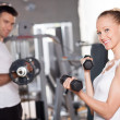 Stock Photo: WomLifting Dumbbells