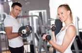Woman Lifting Dumbbells — Stok fotoğraf