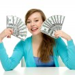 Young woman holding dollar bills — Stock Photo