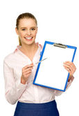 Businesswoman with pen and clipboard — Stock Photo